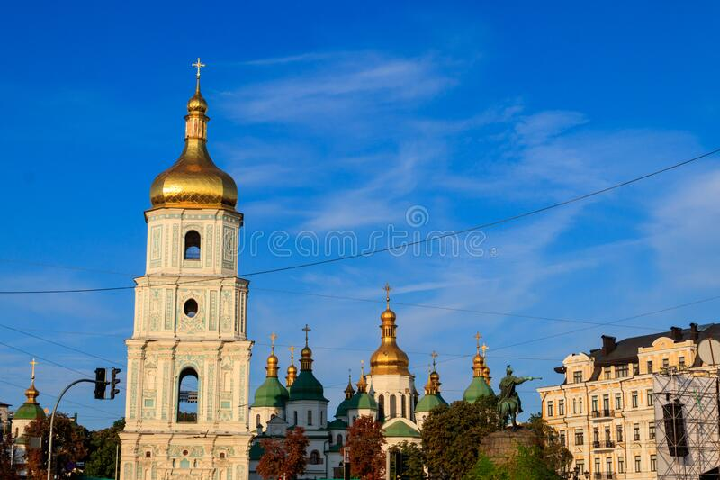 Bell tower of St. Sophia Cathedral in Kiev, Ukraine. Bell tower of St. Sophia Cathedral in Kiev in Ukraine stock images