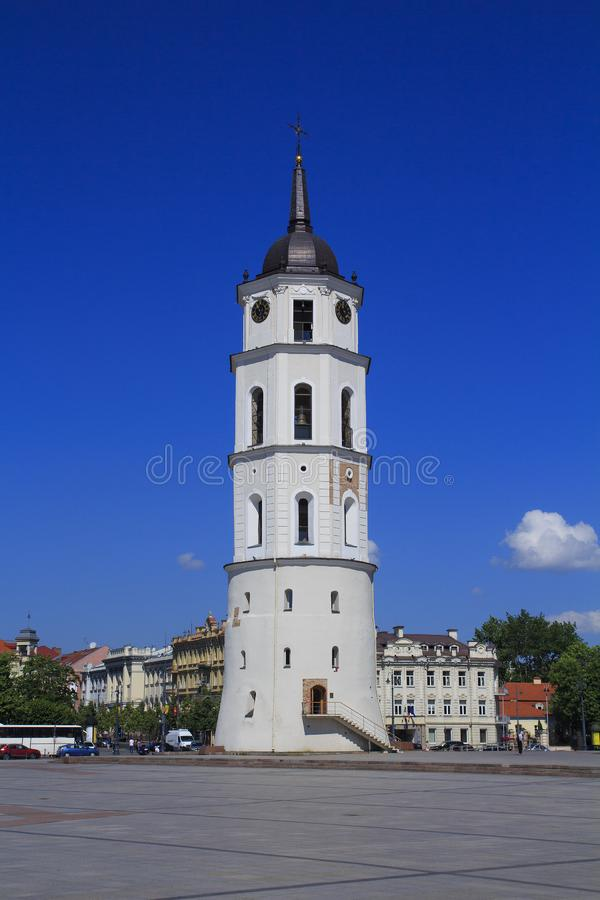 Bell Tower beside St. Stanislaus Cathedral in Vilnius, Lithuania. stock images
