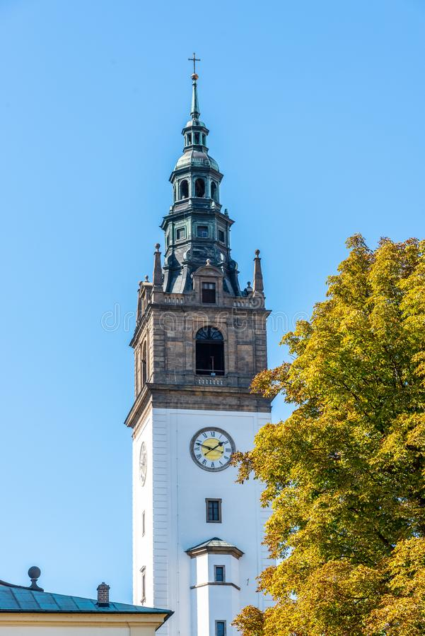 Bell tower at St. Stephen`s Cathedral in Litomerice, Czech Republic stock photography
