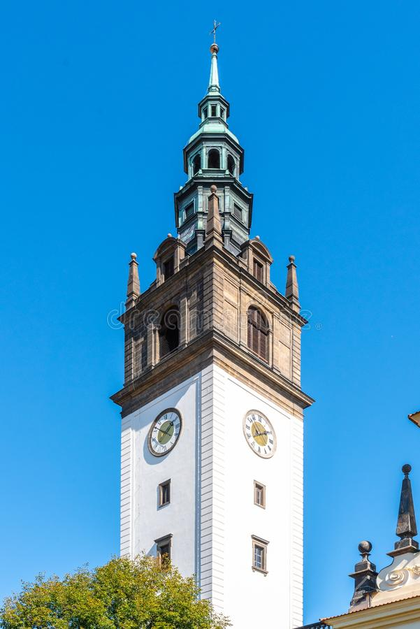 Bell tower at St. Stephen`s Cathedral in Litomerice, Czech Republic royalty free stock images