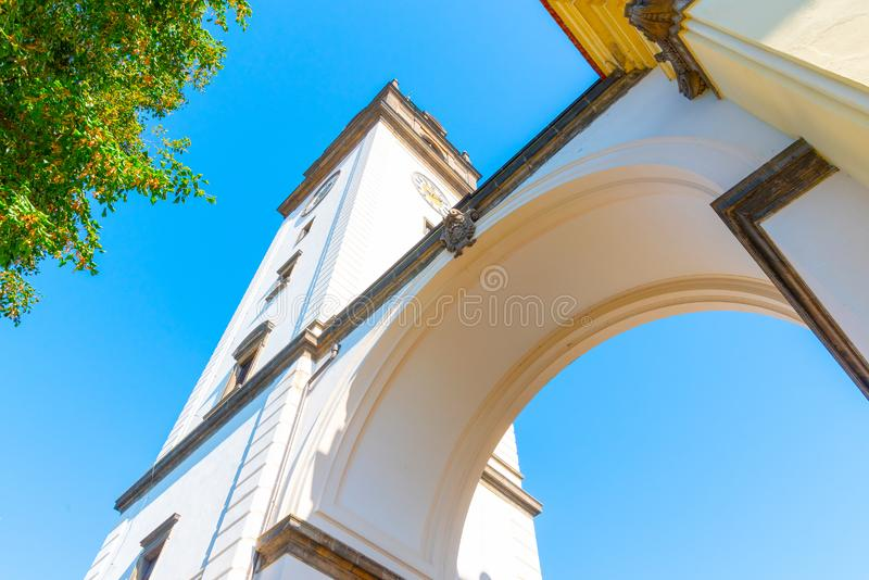 Bell tower at St. Stephen`s Cathedral in Litomerice, Czech Republic stock photos