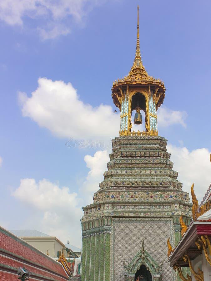 Bell tower at Temple of the Emerald Buddha at Bangkok, Thailand royalty free stock photography