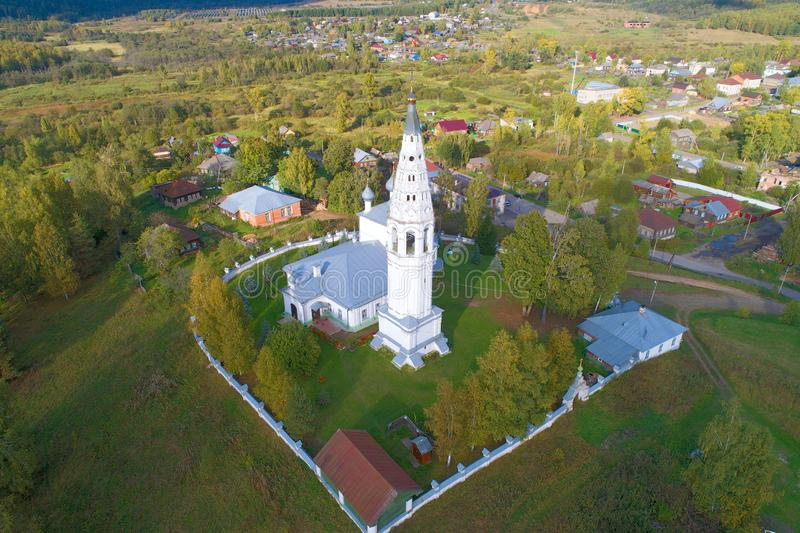 The bell tower of the Transfiguration Cathedral aerial survey. Sudislavl, Russia royalty free stock image