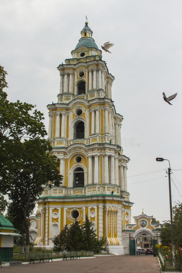 Bell tower of the Trinity Cathedral in Chernihiv. Ukraine.  royalty free stock image