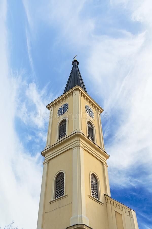 Free Bell Tower With Clock At Old Town With Cloudy Sky Stock Image - 139944951