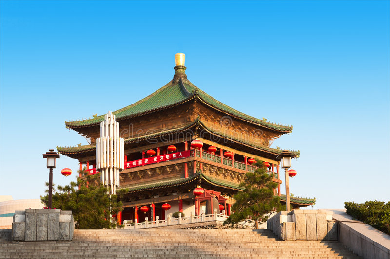 Bell Tower, Xi'an, China stock photo