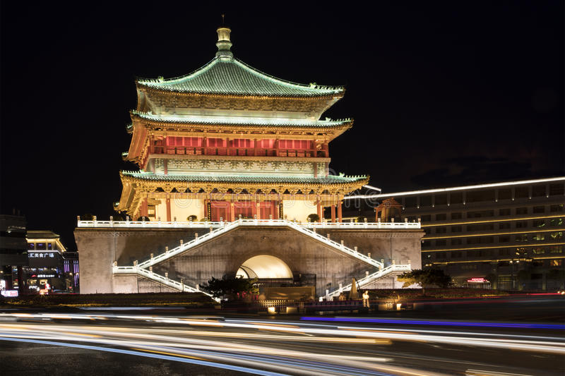 Bell Tower of Xi`an, located in the heart of downtown Xi`an, China stock image