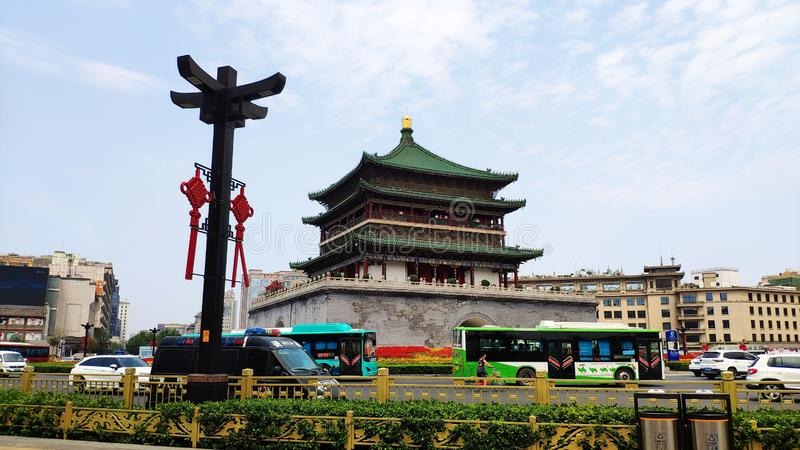 Bell Tower in Xi`an, Shaanxi Province, China. royalty free stock photo