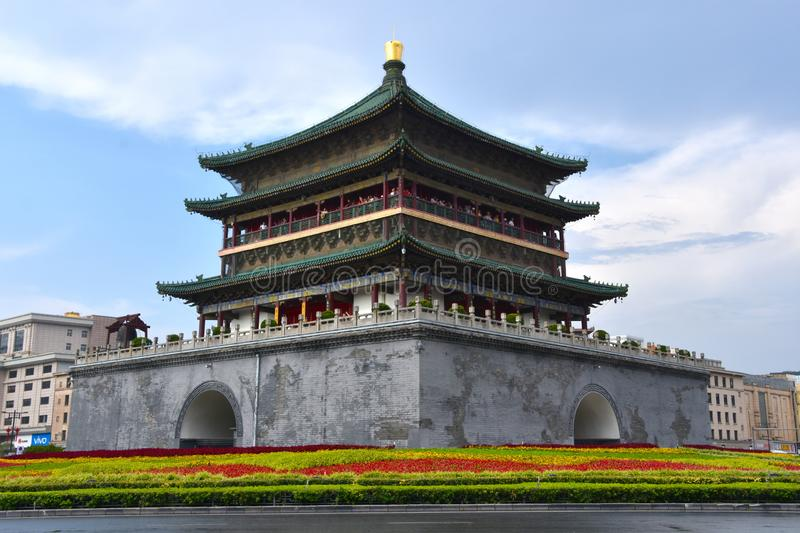 The Bell Tower of Xian, China stock images