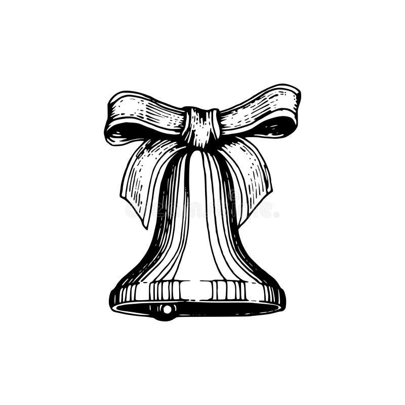 Bell- und Bogenhandgezeichnete Illustration Vector Weihnachtshintergrund für Grußkarte, Plakatschablone vektor abbildung