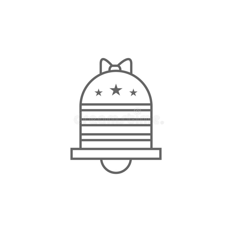 Bell USA outline icon. Signs and symbols can be used for web, logo, mobile app, UI, UX royalty free illustration