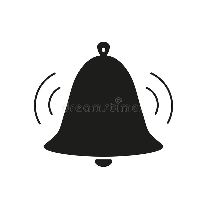 Bell voice black icon. On white background royalty free illustration
