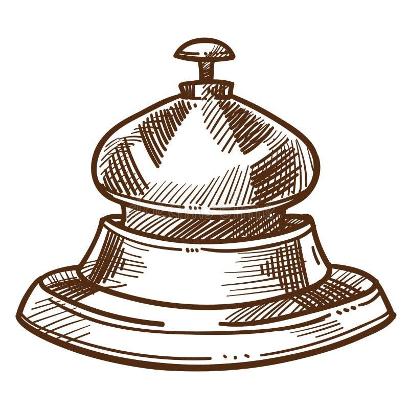Bell von Skizzenhotel-Personalausrüstung des Aufnahmeschreibtisches lokalisierter lizenzfreie abbildung