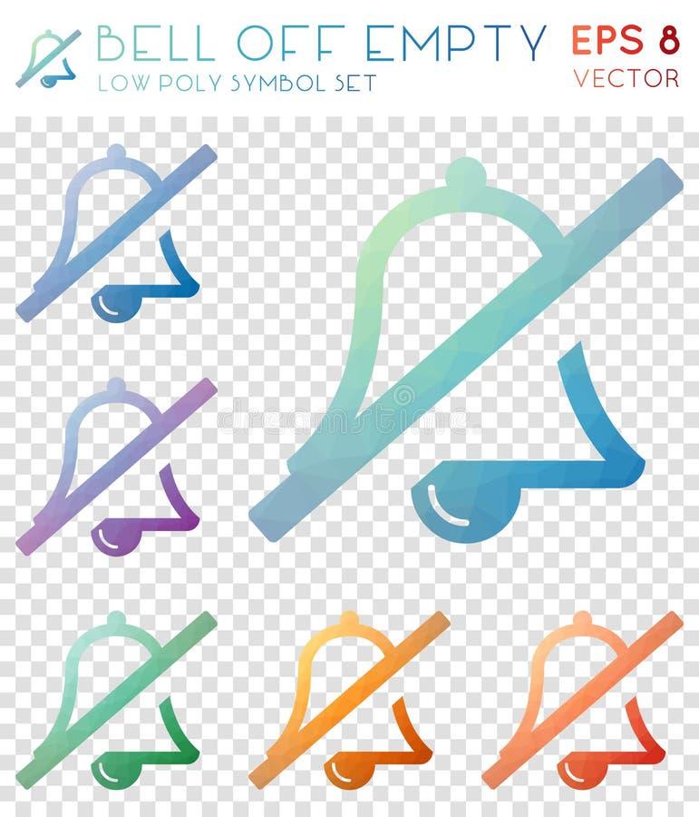 Bell weg von den leeren geometrischen polygonalen Ikonen stock abbildung