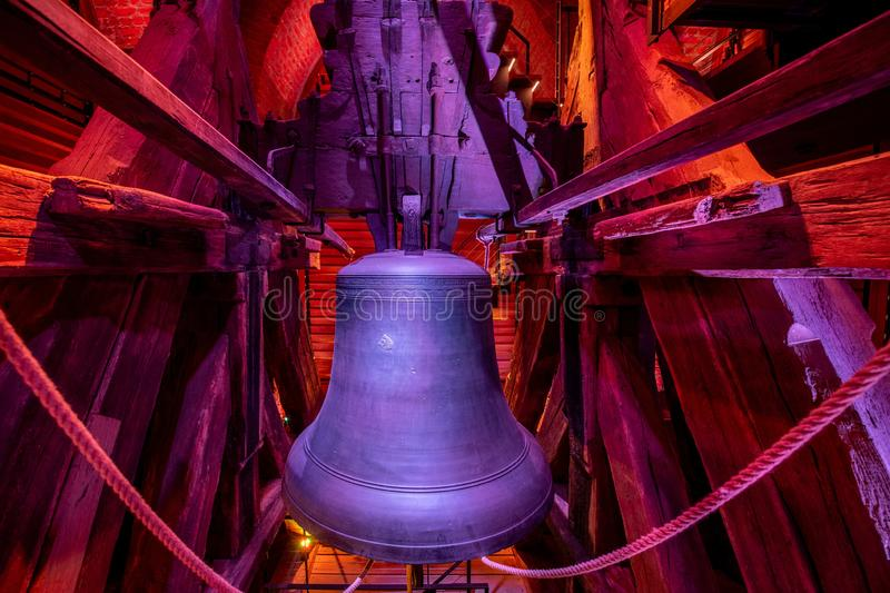 Bell in white tower in Hradec Kralove. Red color light. The White Tower in Hradec Kralove, stands on the southwest side of the Great Square stock photos