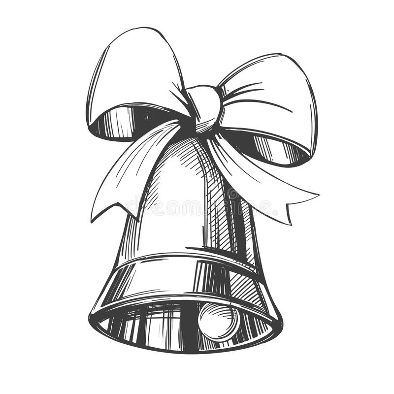 Free Bell With Bow Hand Drawn Vector Illustration Sketch Royalty Free Stock Photography - 128075427