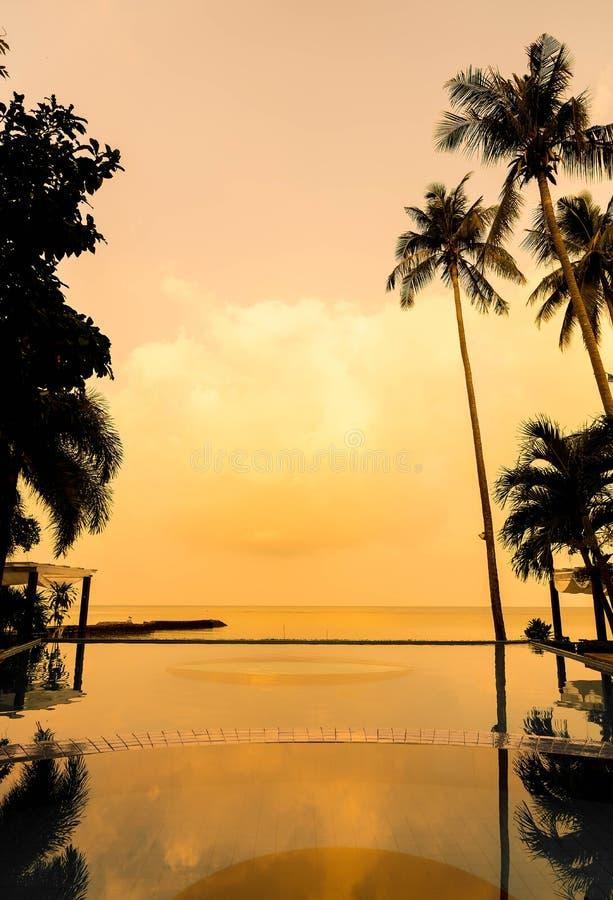 Bella alba con l'albero del cocco della siluetta e la sedia po immagini stock libere da diritti
