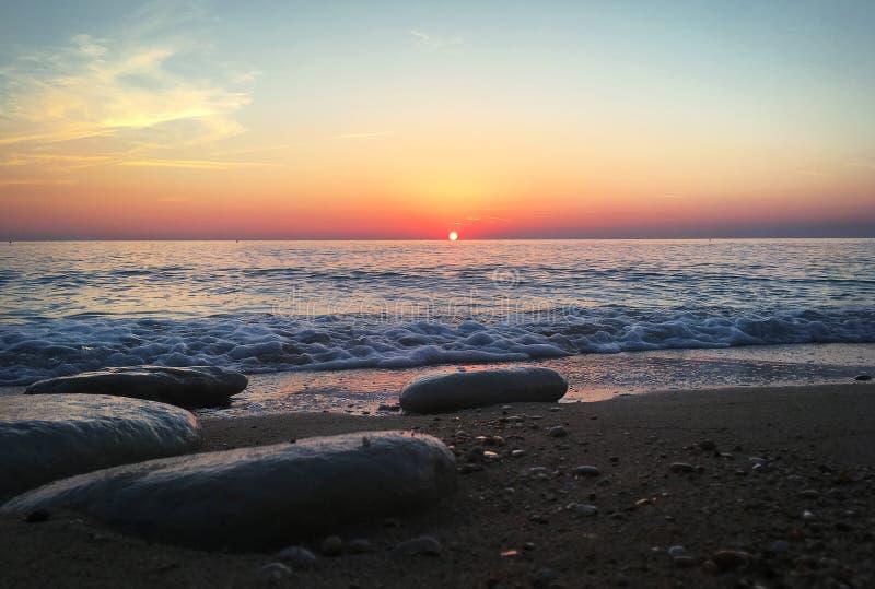 Bella alba sopra il mare adriatico, Sirolo, #Italy fotografia stock