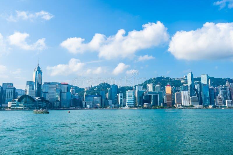 Bella architettura che sviluppa paesaggio urbano esteriore dell'orizzonte della città di Hong Kong fotografia stock libera da diritti
