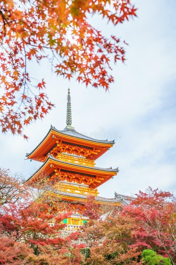 'Bella architettura in tempio Kyoto, Giappone di Kiyomizu-dera fotografia stock libera da diritti