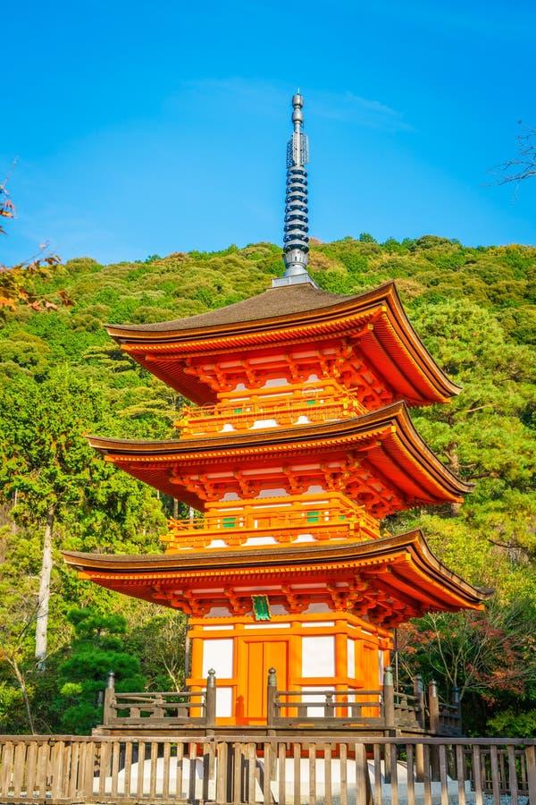 Bella architettura in tempio Kyoto, Giappone di Kiyomizu-dera immagine stock