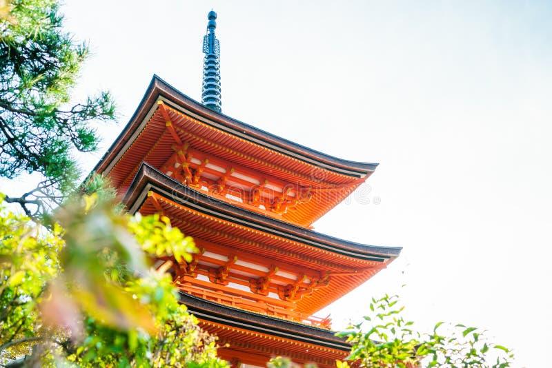 Bella architettura in tempio Kyoto, Giappone di Kiyomizu-dera fotografia stock libera da diritti