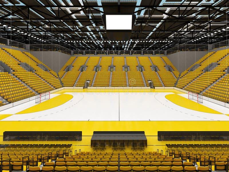 Bella arena di sport per pallamano con i sedili gialli e le scatole di VIP - 3d rendono illustrazione di stock