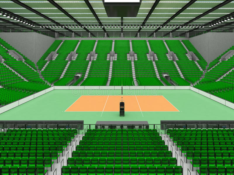 Bella arena di sport per pallavolo con i sedili ed i proiettori verdi - 3d rendono illustrazione vettoriale