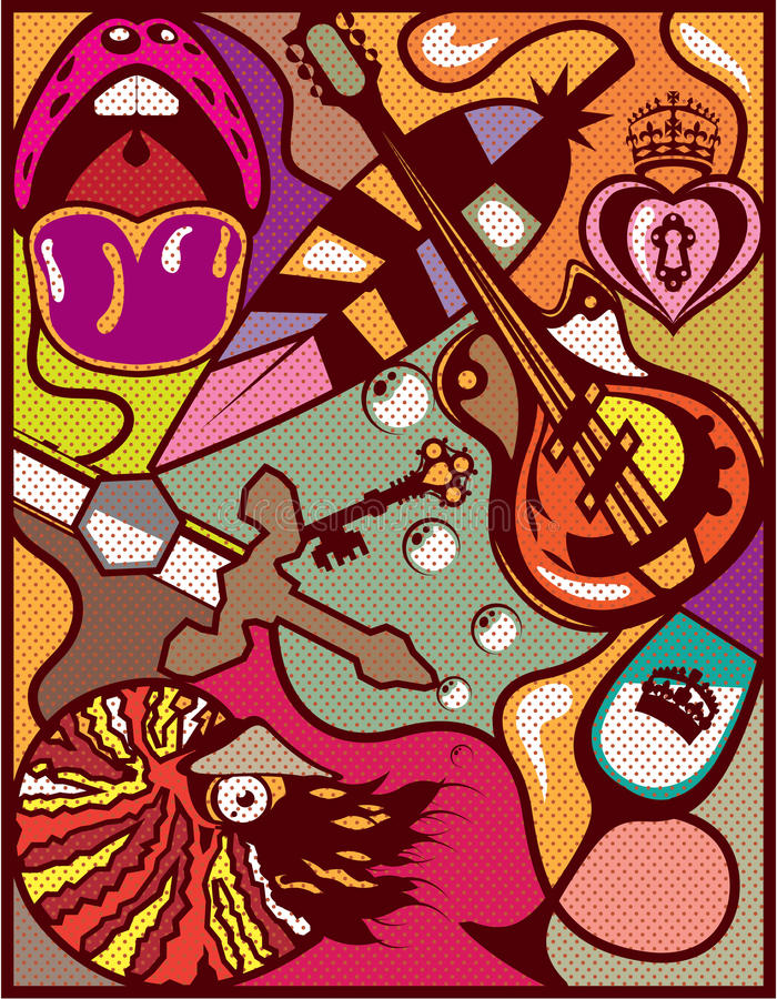 Bella arte abstracta del fondo del vector de los objetos al azar stock de ilustración