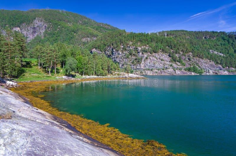 Bella baia del mare di Norvegia immagini stock