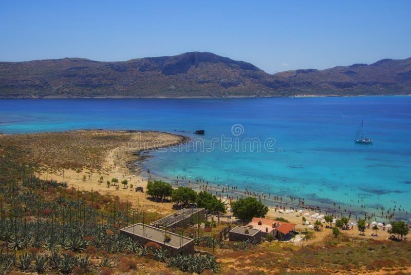 Bella baia di lazure e spiaggia tropicale all'isola di Gramvousa, Creta, Grecia immagini stock libere da diritti