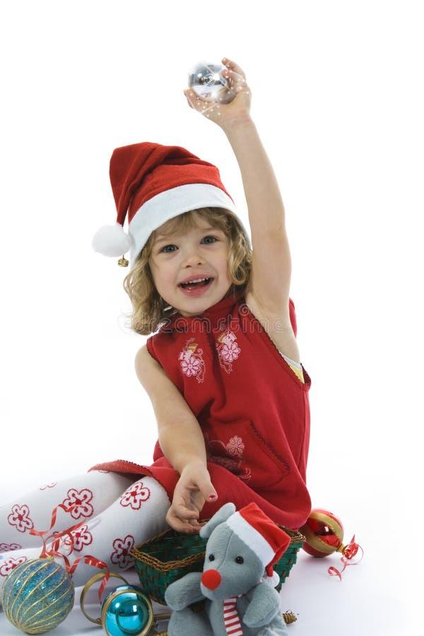 Bella bambina con la decorazione di natale immagini stock libere da diritti