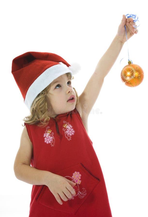 Bella bambina con la decorazione di natale fotografia stock libera da diritti