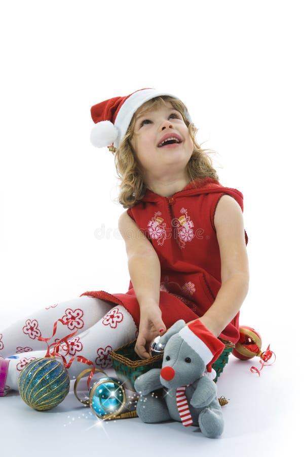 Bella bambina con la decorazione di natale fotografia stock