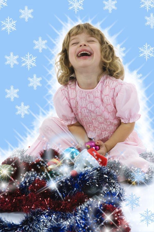 Bella bambina con la decorazione di natale fotografie stock libere da diritti