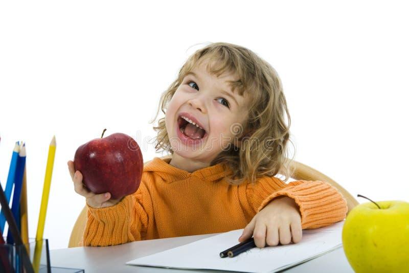 Bella bambina con le matite immagine stock libera da diritti