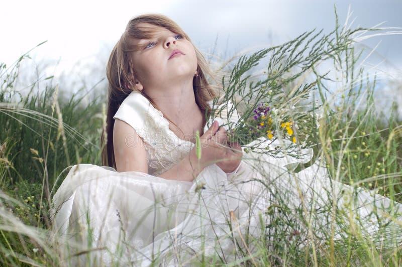 Bella bambina di Fairy-tale su un prato inglese fotografie stock