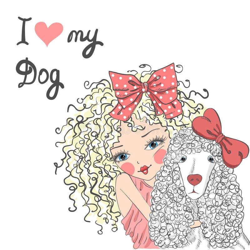 Bella bambina sveglia con un barboncino del cane royalty illustrazione gratis