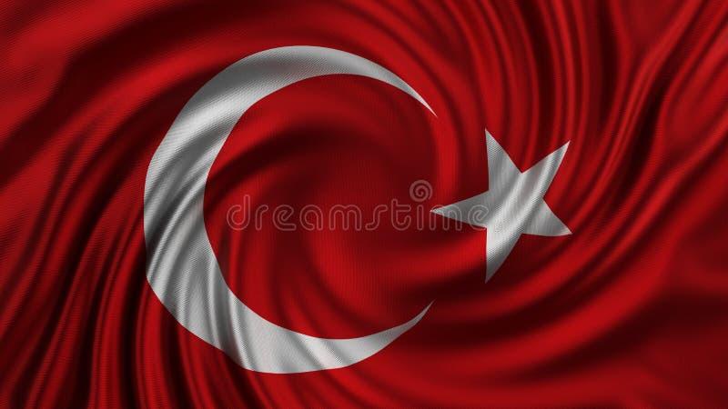 Bella bandiera del turco fatta di seta illustrazione 3D illustrazione di stock