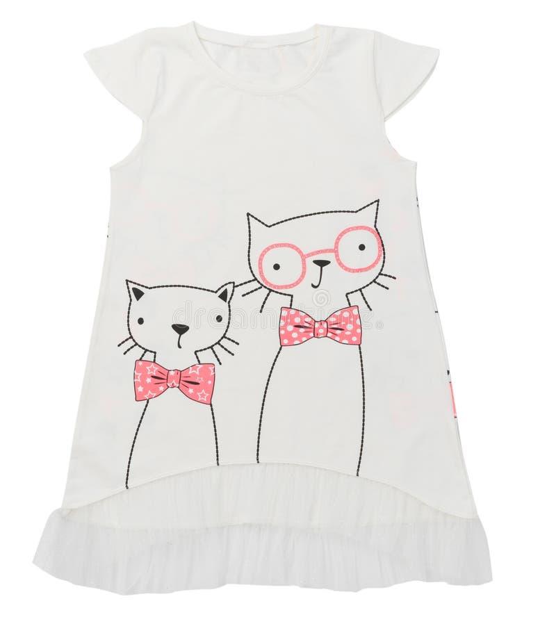 Bella camicia elegante di estate della ragazza della luce intensa con i gatti Isolato su priorità bassa bianca Gatti nella parte  fotografie stock
