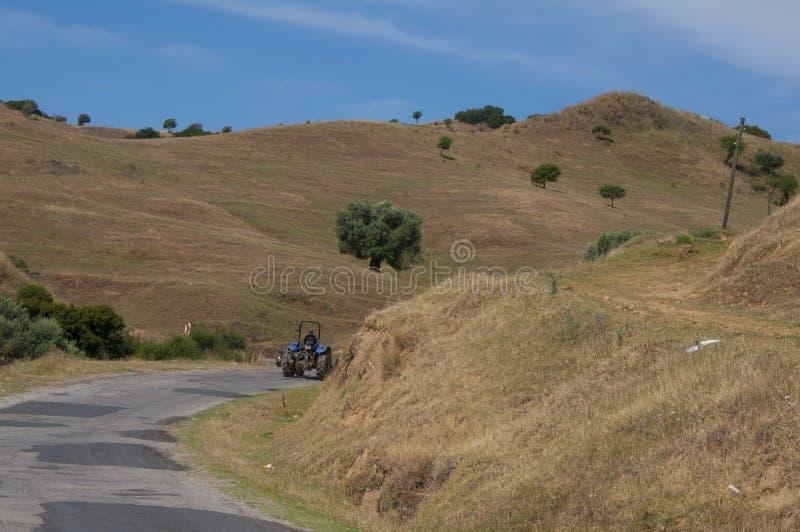 Bella campagna con il trattore, provincia di Aydin, Turchia fotografia stock libera da diritti