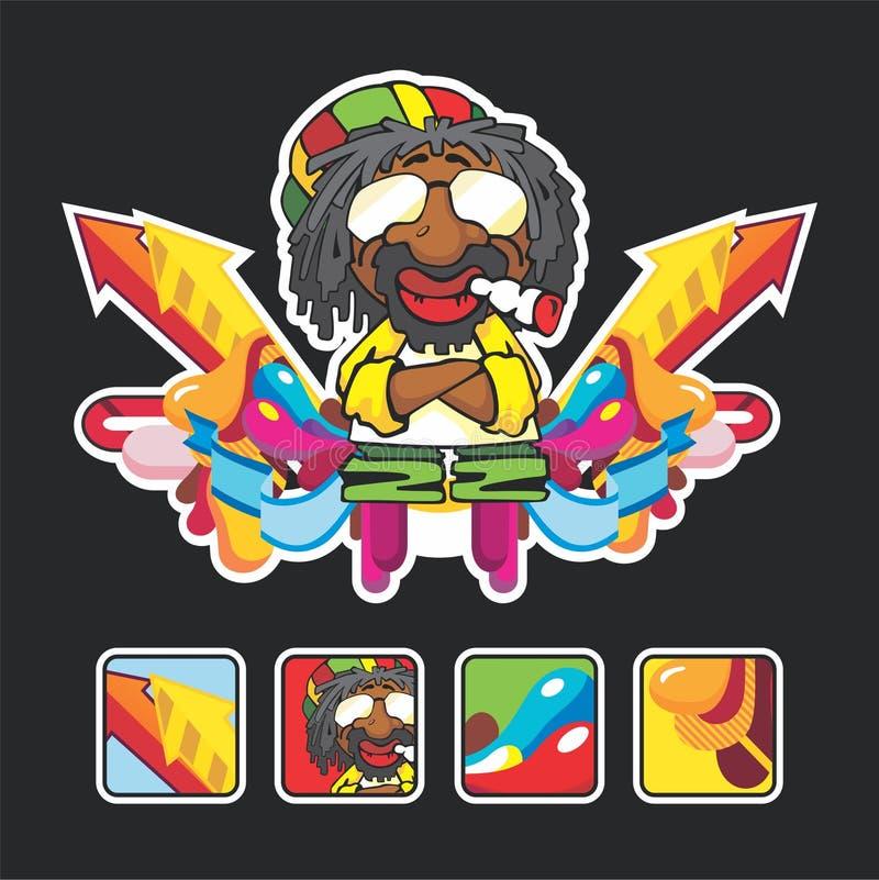 Bella canzone di reggae con i caratteri e l'icona royalty illustrazione gratis