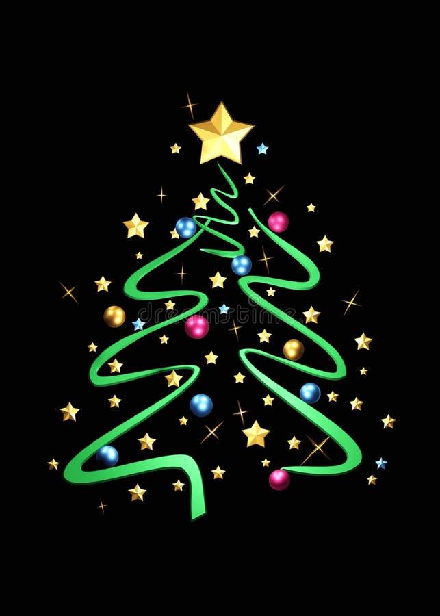Bella carta Albero di Natale decorato del nuovo anno royalty illustrazione gratis