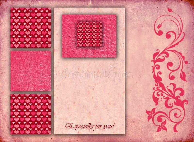 Bella carta alla moda del biglietto di S. Valentino illustrazione vettoriale