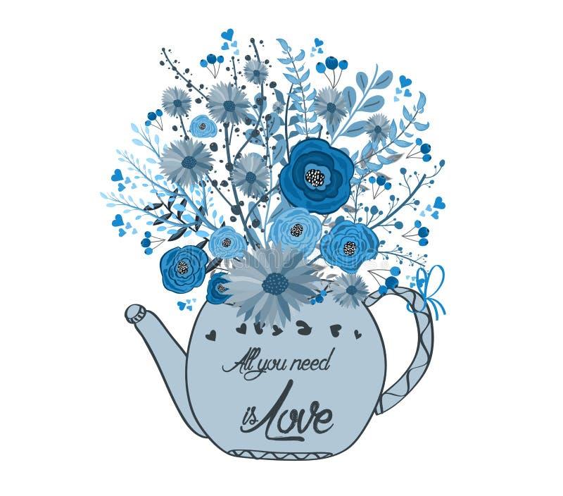 Bella carta con i fiori dell'acquerello Tazza di tè con amore royalty illustrazione gratis