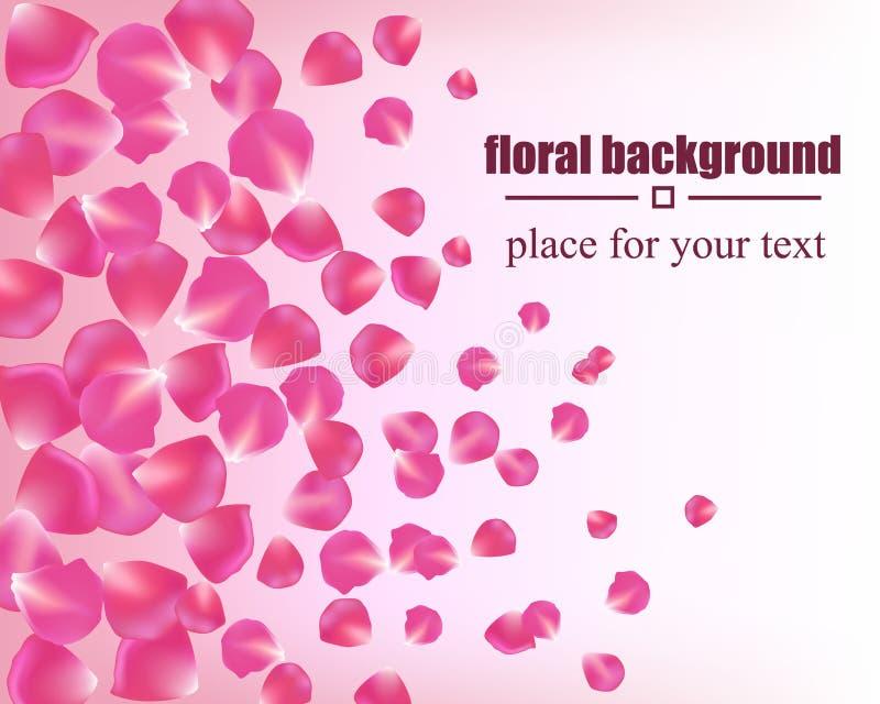 Bella carta con i petali rosa Priorità bassa floreale illustrazione di stock