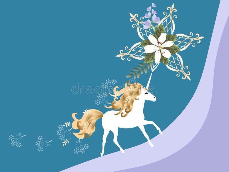 Bella carta orizzontale con l'unicorno magico, il giglio bianco ed i fiori di campana nel vettore Spazio per testo Scheda dell'in illustrazione vettoriale