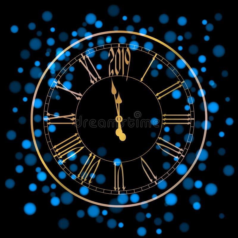 Bella cartolina d'auguri del nuovo anno con le luci brillanti blu e un orologio dorato su fondo nero royalty illustrazione gratis