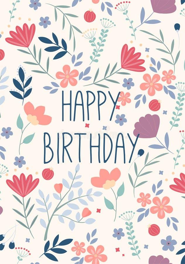 Bella cartolina d'auguri di buon compleanno con i fiori Invito del partito di vettore con gli elementi floreali royalty illustrazione gratis