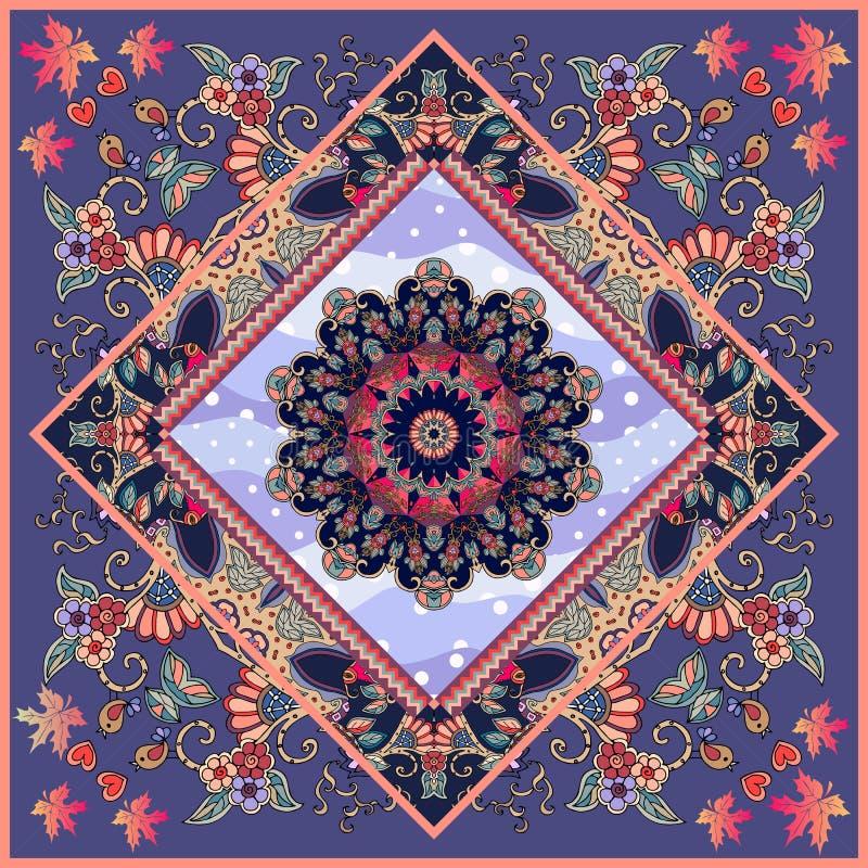 Bella cartolina d'auguri o invito unico di nozze con la mandala ornamentale del fiore e della struttura sul fondo del pois illustrazione vettoriale